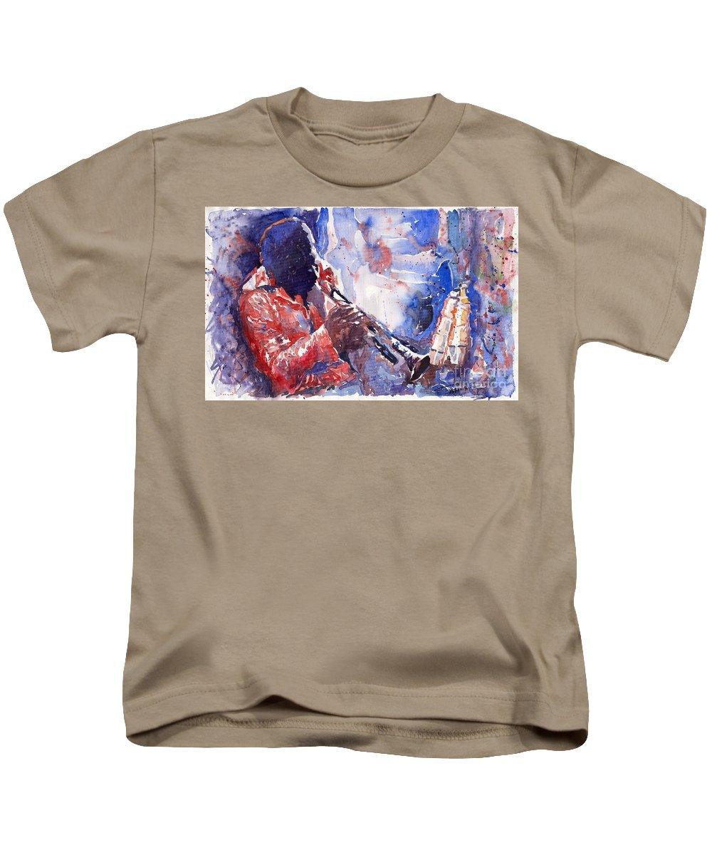 Jazz Kids T-Shirt featuring the painting Jazz Miles Davis 15 by Yuriy Shevchuk