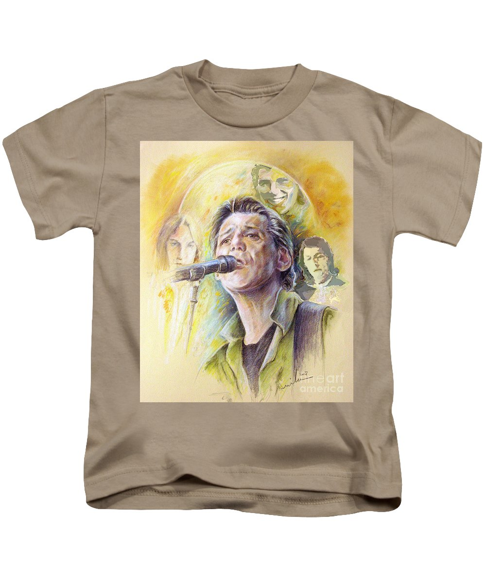 Jeff Christie Kids T-Shirt featuring the painting Jeff Christie by Miki De Goodaboom