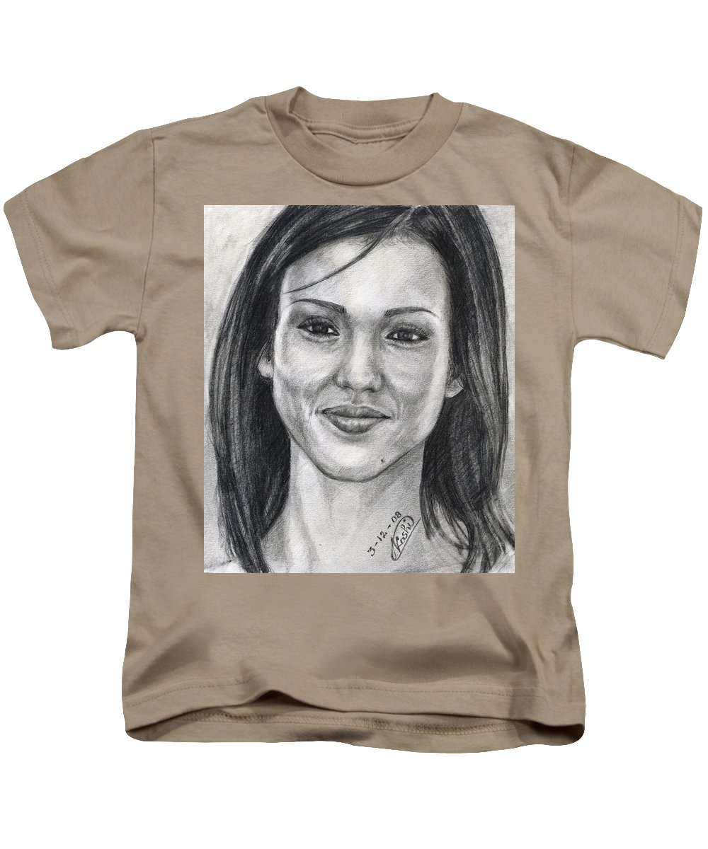 Jessica Albba Kids T-Shirt featuring the drawing Jessica Alba Portrait by Alban Dizdari