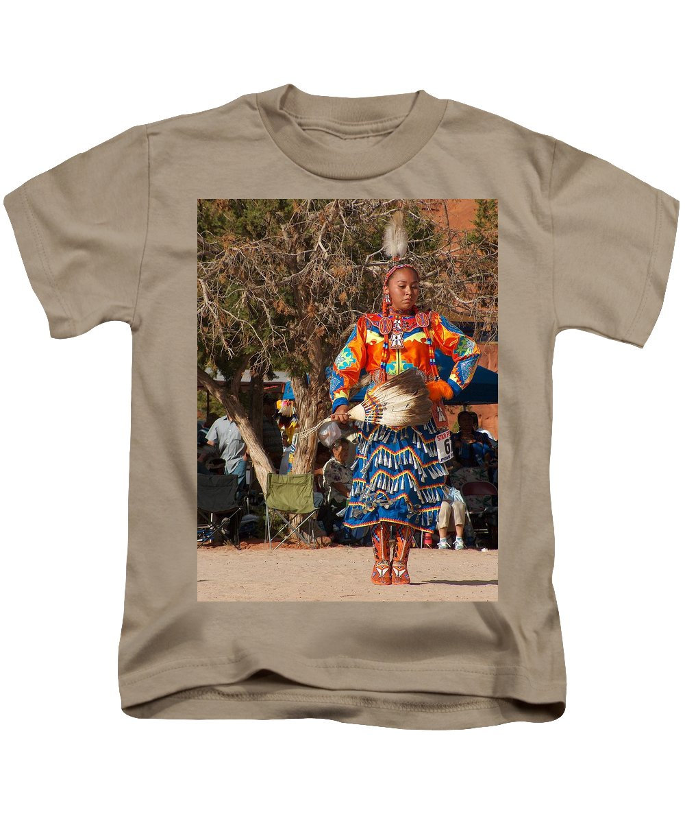 Pow-wow Dancer Kids T-Shirt featuring the photograph Jingle Dress Dancer At Star Feather Pow-wow by Tim McCarthy
