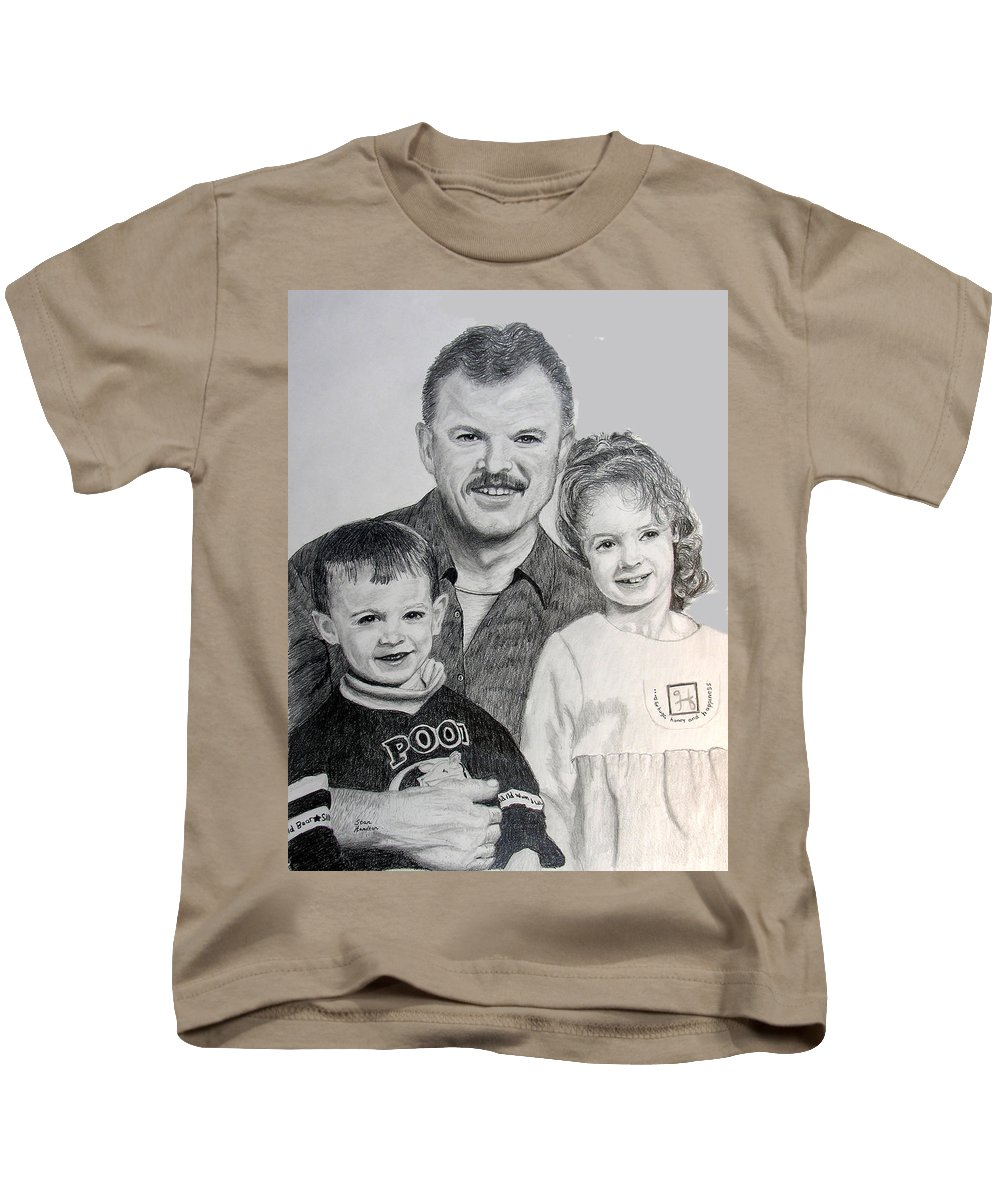 Portrait Kids T-Shirt featuring the drawing John Megan And Joey by Stan Hamilton