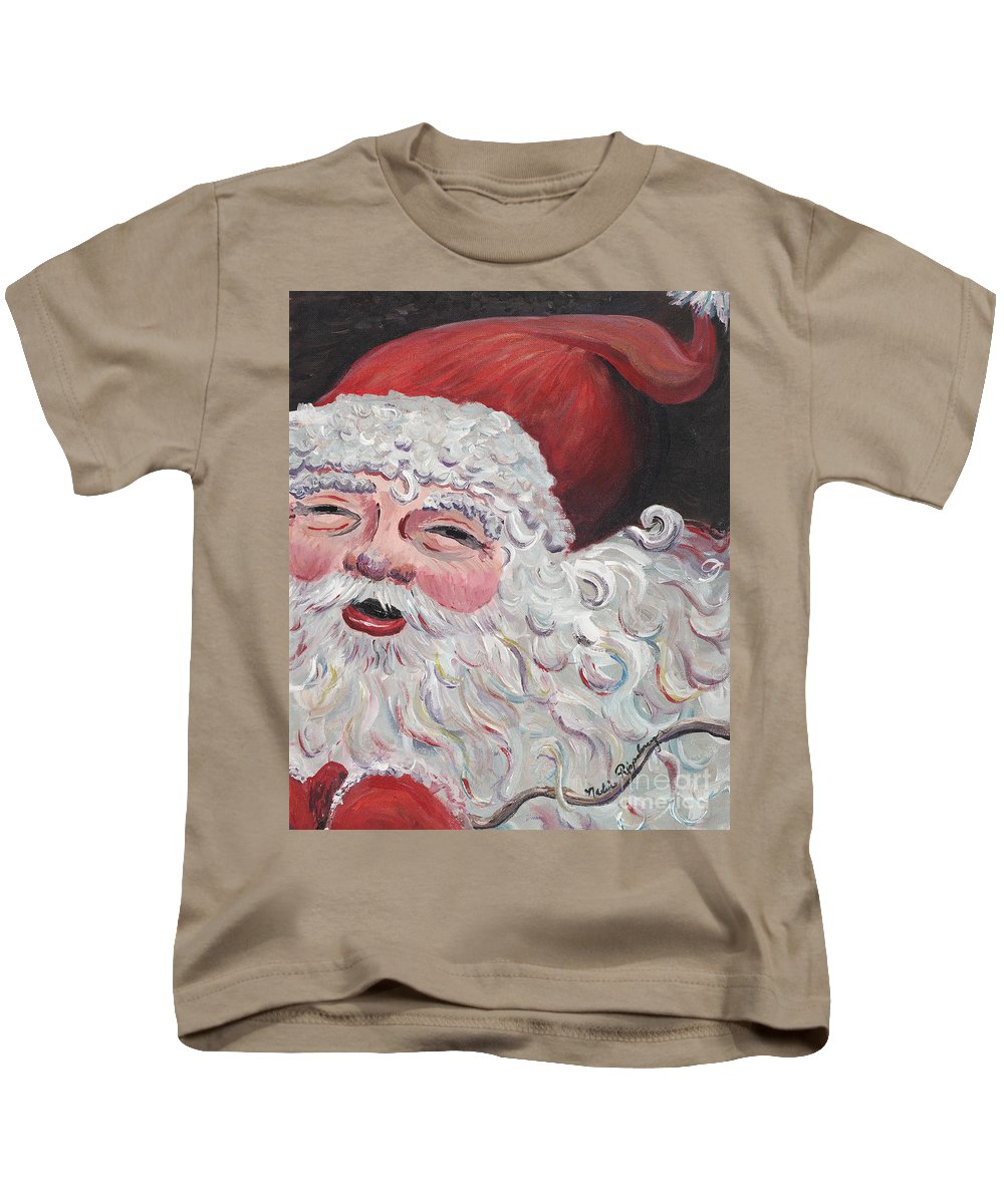 Santa Kids T-Shirt featuring the painting Jolly Santa by Nadine Rippelmeyer