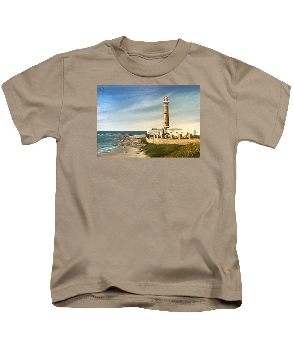 Landscape Seascape Lighthouse Uruguay Beach Sea Water Kids T-Shirt featuring the painting Jose Ignacio Lighthouse Evening by Natalia Tejera