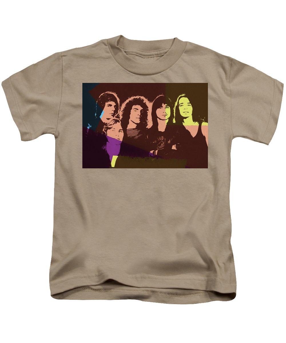 Journey Rock Band Pop Art Kids T-Shirt featuring the mixed media Journey Rock Band Pop Art by Dan Sproul