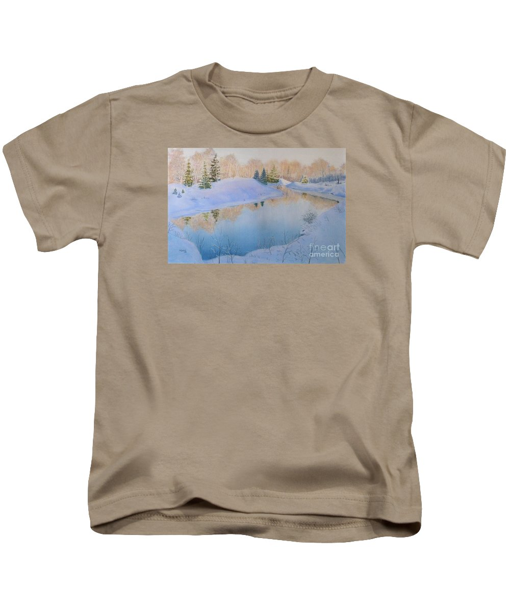 Landscape Kids T-Shirt featuring the painting Junction Creek by Lynn Quinn