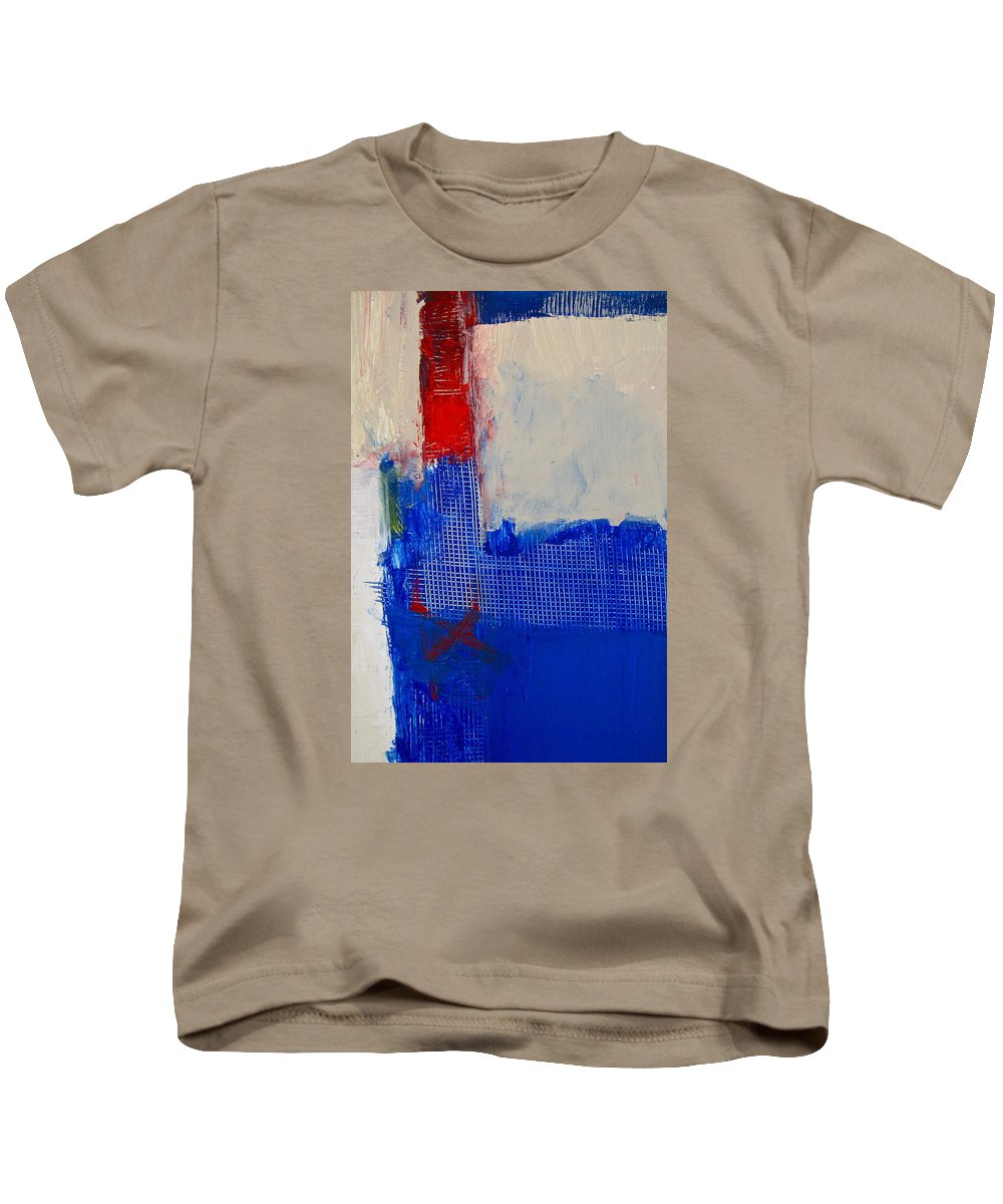 Abstract Paintings Kids T-Shirt featuring the painting Just Meshing Around by Cliff Spohn