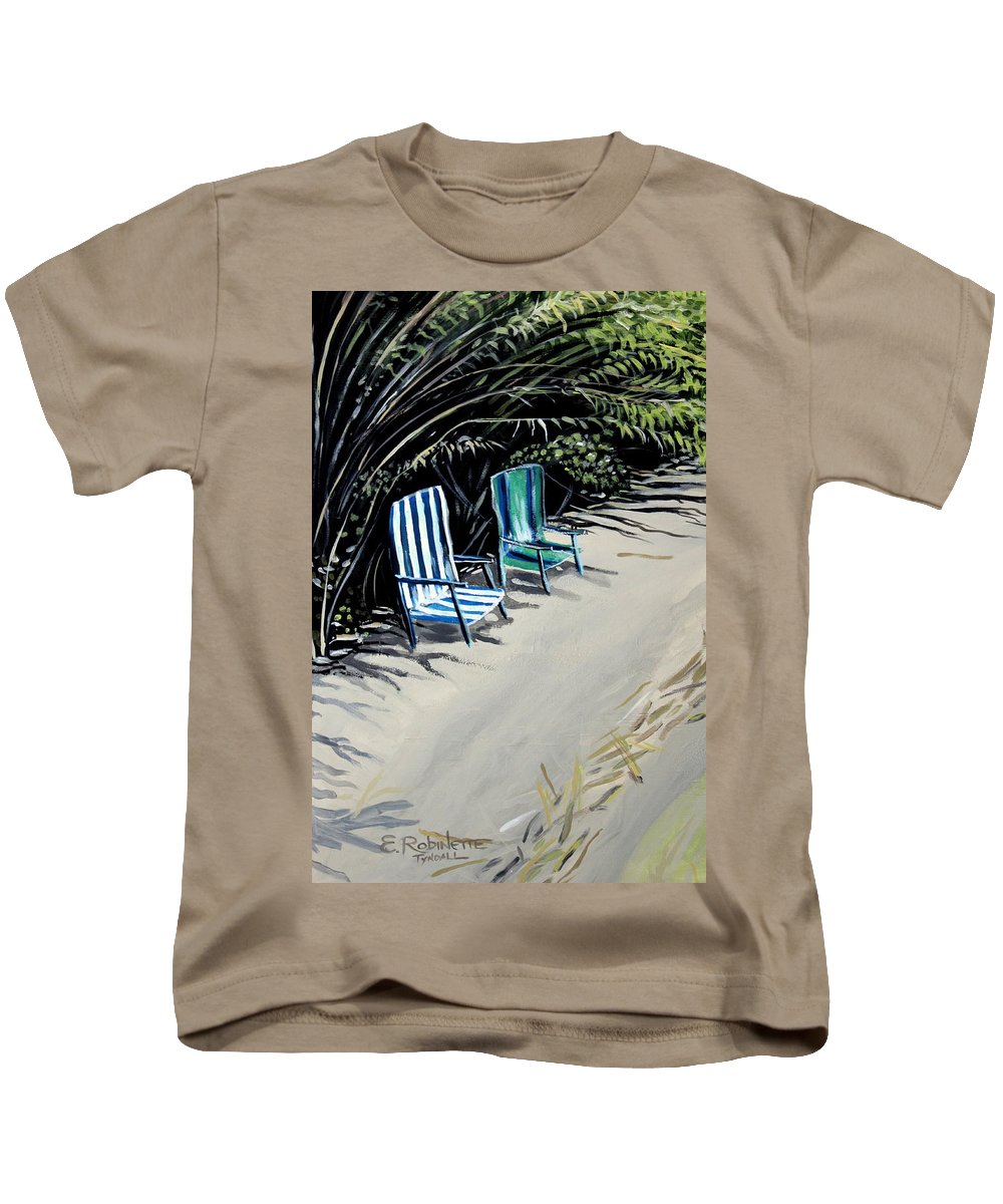 Beach Chairs Kids T-Shirt featuring the painting Just The Two Of Us by Elizabeth Robinette Tyndall