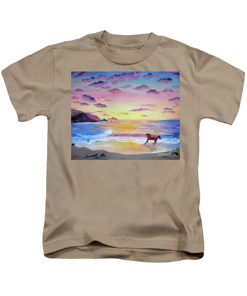 California Kids T-Shirt featuring the painting Kachina At Rockaway Beach by Laura Iverson