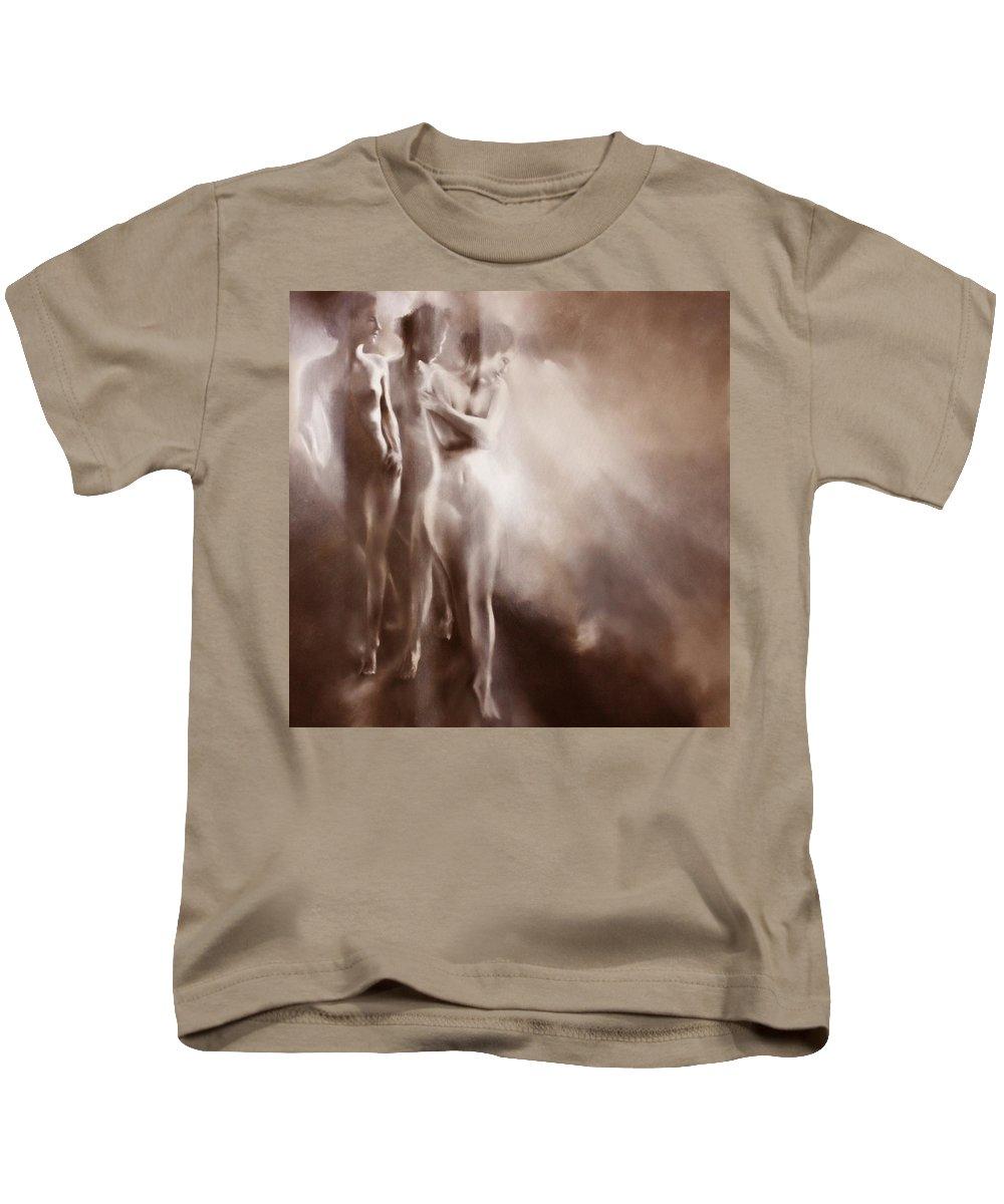 Nude Kids T-Shirt featuring the painting Karla, Karla Und Karla - Variation 1 by Annette Schmucker