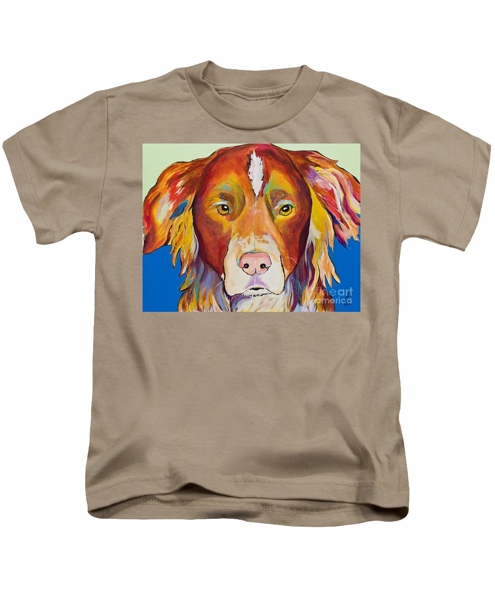 Australian Border Collie Kids T-Shirt featuring the painting Keef by Pat Saunders-White