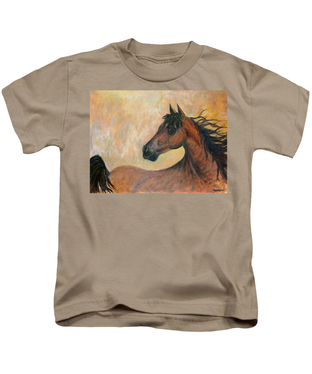 Horse Kids T-Shirt featuring the painting Kiger Mustang by Ben Kiger