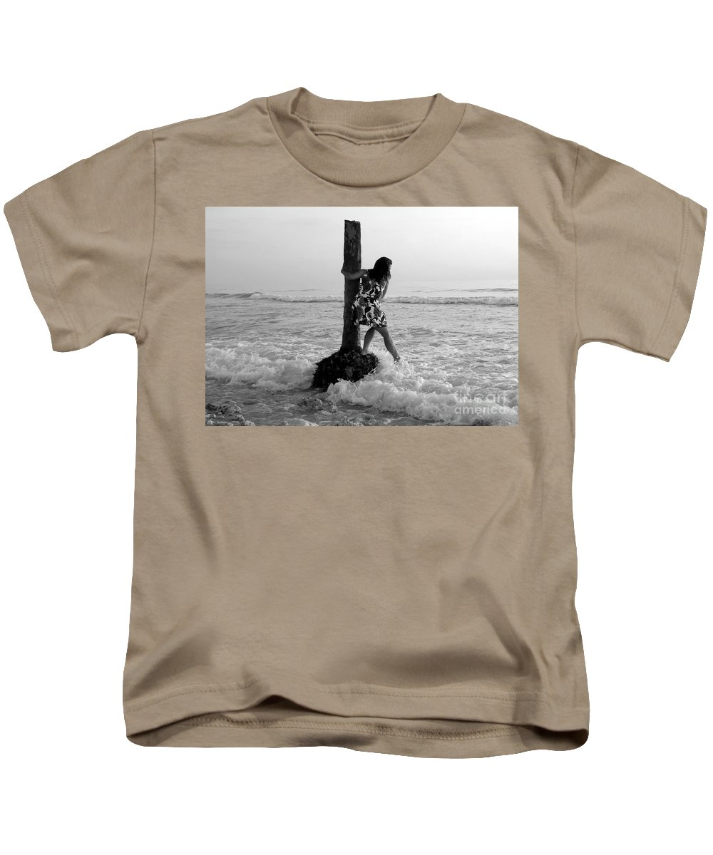 Beach Kids T-Shirt featuring the photograph Lady In The Surf by David Lee Thompson