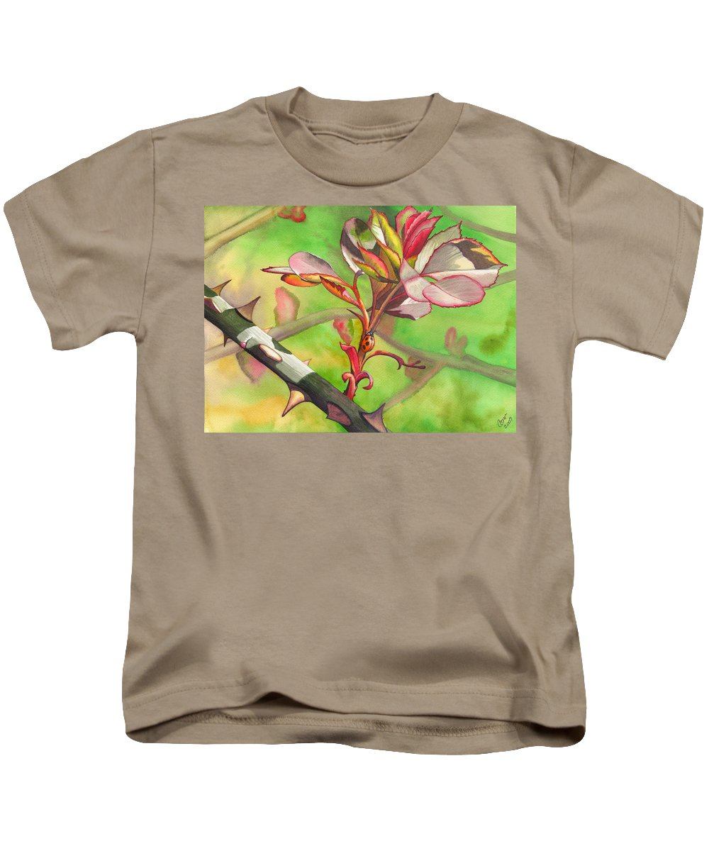 Ladybug Kids T-Shirt featuring the painting Ladybug by Catherine G McElroy