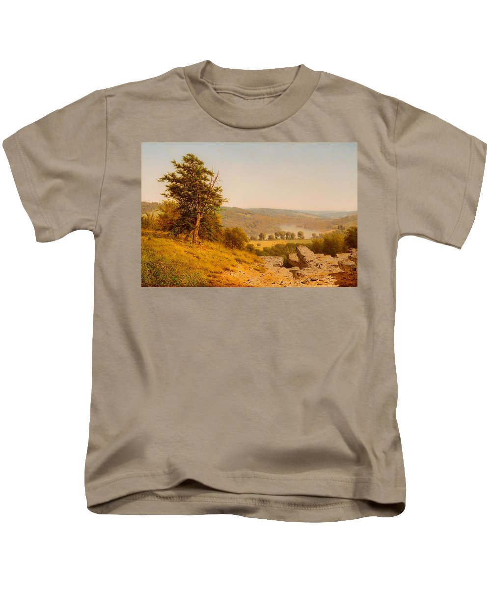 Painting Kids T-Shirt featuring the painting Landscape by Mountain Dreams