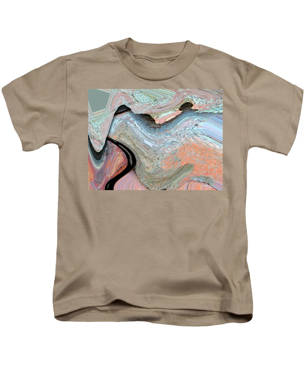 Abstract Kids T-Shirt featuring the digital art Landscape With Tree by Lenore Senior