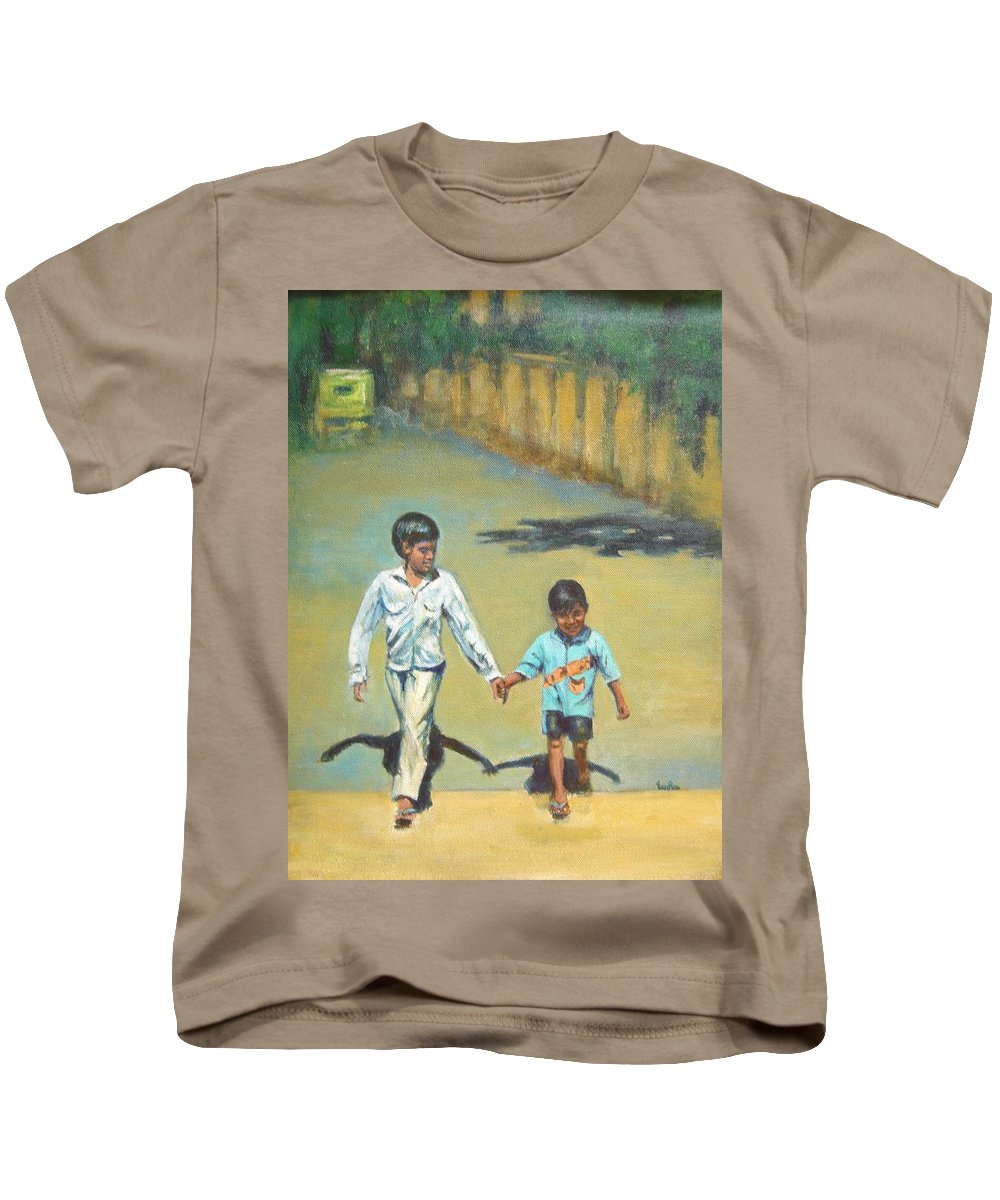 Lead Kids T-Shirt featuring the painting Lead Kindly Brother by Usha Shantharam