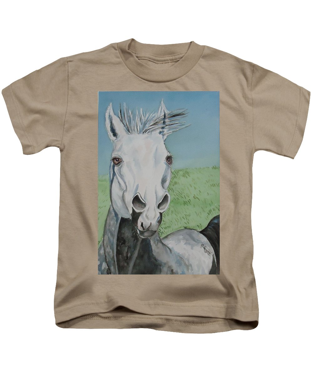 Not The Painter But A Grey Horse Kids T-Shirt featuring the painting Leonardo by Charme Curtin