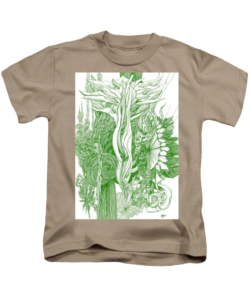 Botanic Botanical Blackandwhite Black And White Zentangle Zen Tangle Abstract Acceptance Circles Comfort Comforting Detailed Drawing Dreams Earth Kids T-Shirt featuring the painting Life Force - Green by Charles Cater