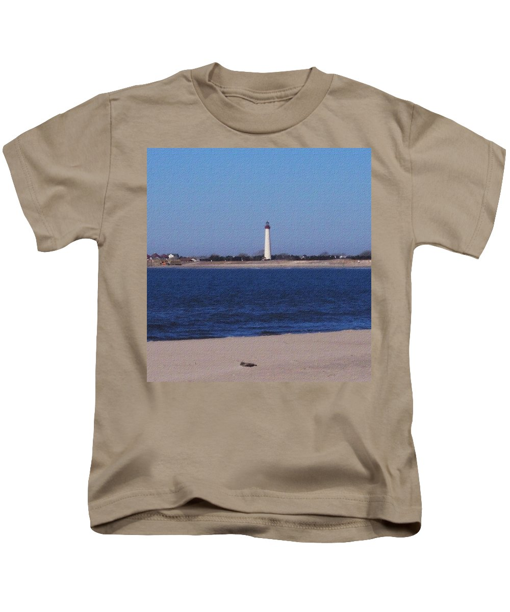 Lighthouse Kids T-Shirt featuring the photograph Lighthouse At The Point by Pharris Art