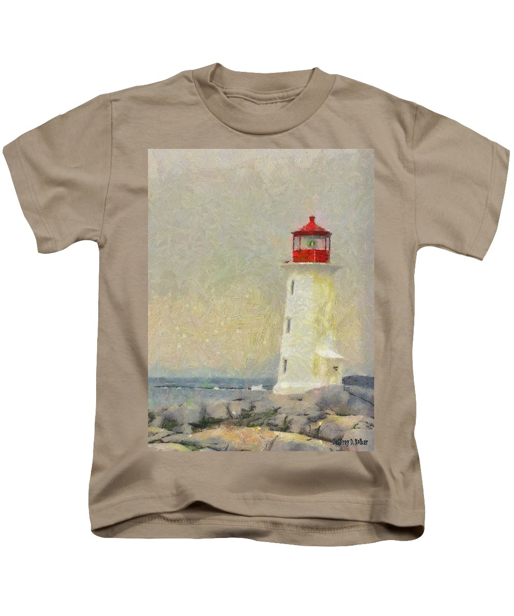 Canadian Kids T-Shirt featuring the painting Lighthouse by Jeffrey Kolker