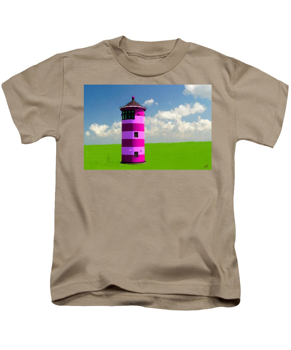 Bruce Kids T-Shirt featuring the painting Lighthouse On The Island by Bruce Nutting