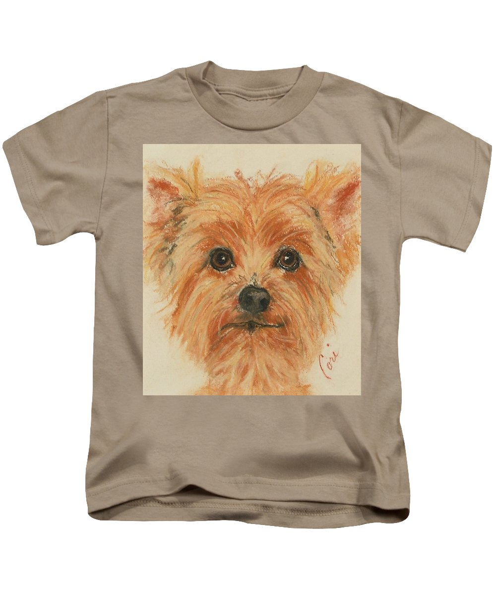 Pastel Kids T-Shirt featuring the drawing Lil Rascal by Cori Solomon