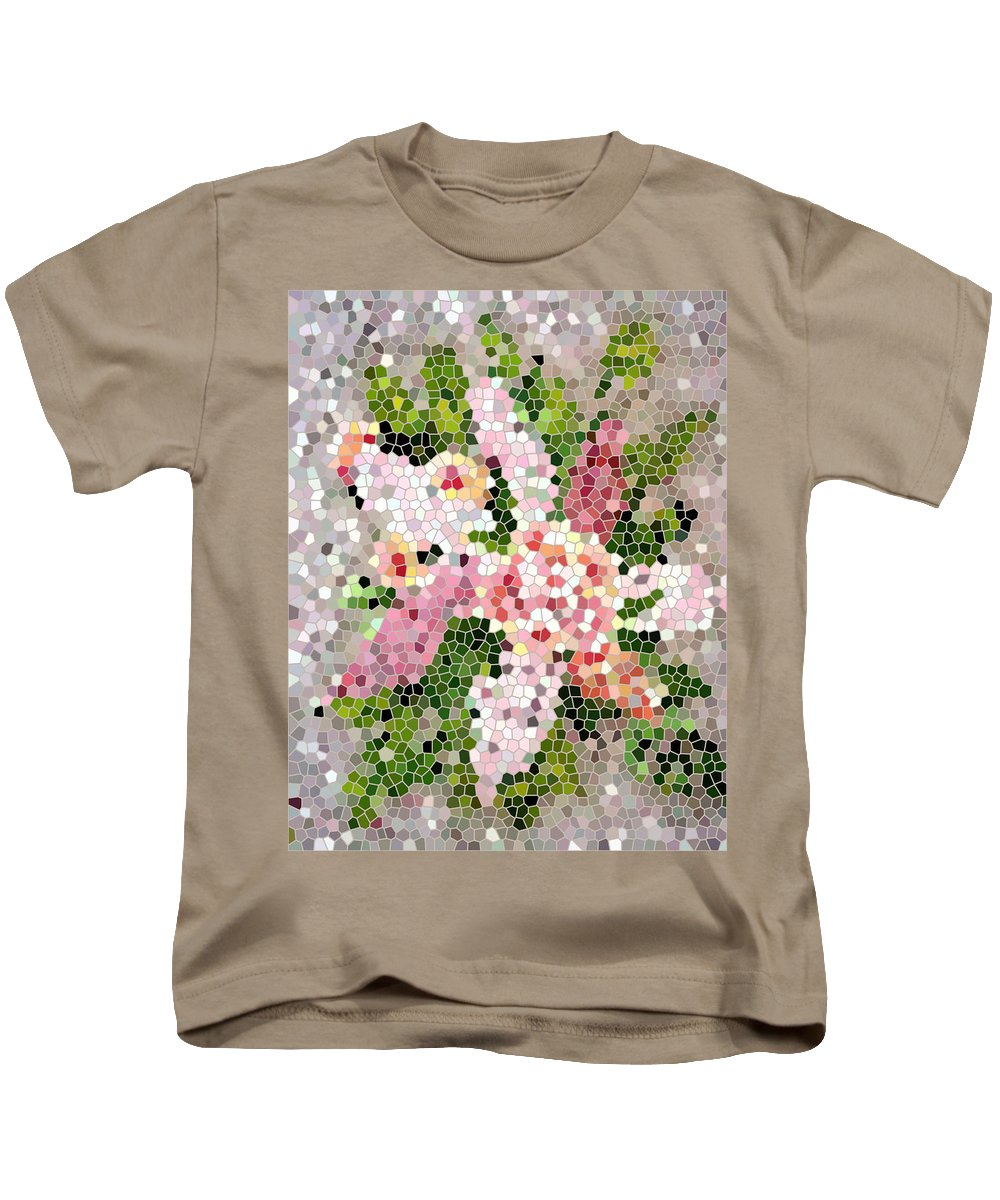 Lilac Bouquet In Stained Glass Kids T-Shirt featuring the digital art Lilac Bouquet II by Barbara Griffin