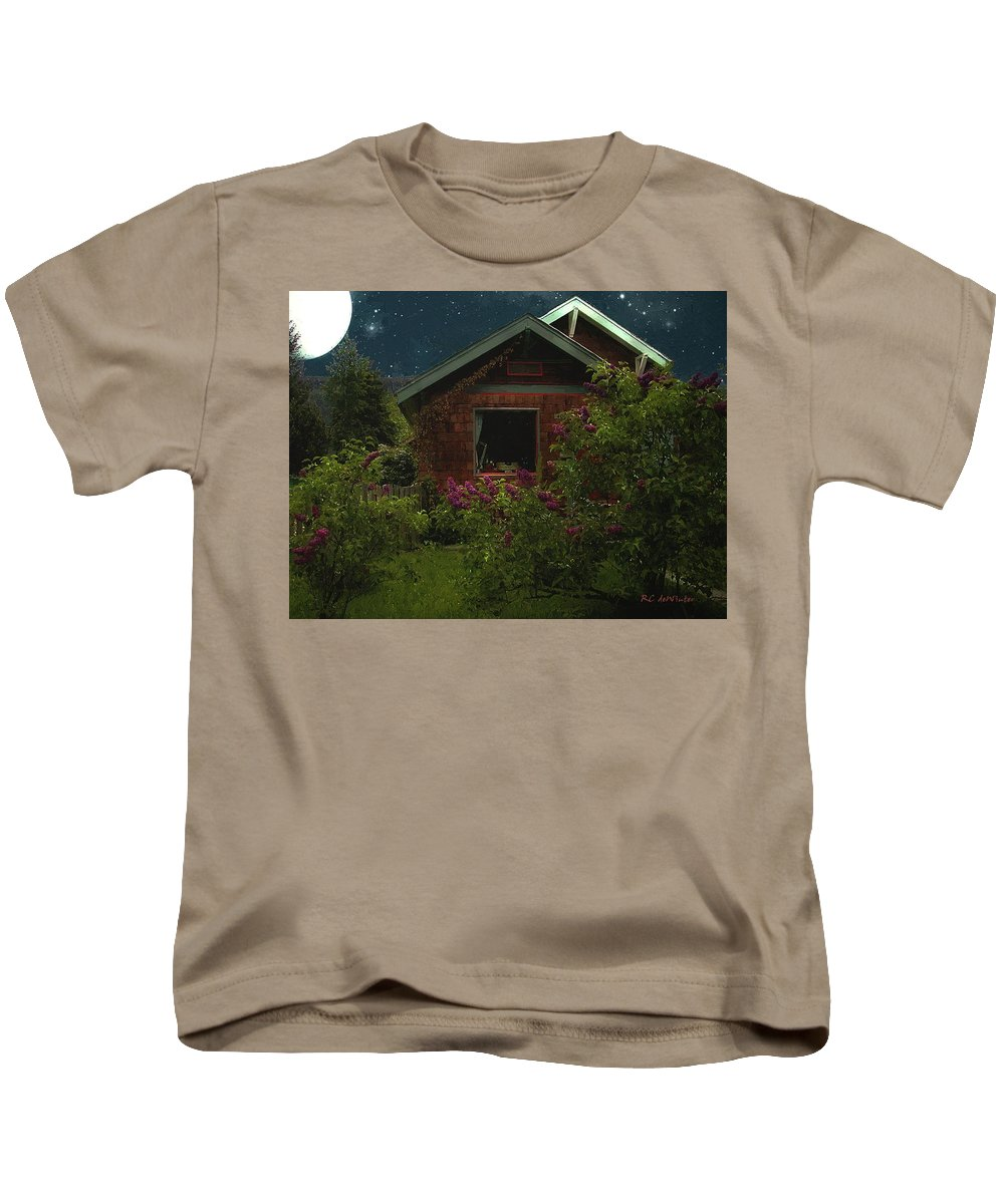 Cottage Kids T-Shirt featuring the painting Lilac Cottage By Moonlight by RC DeWinter