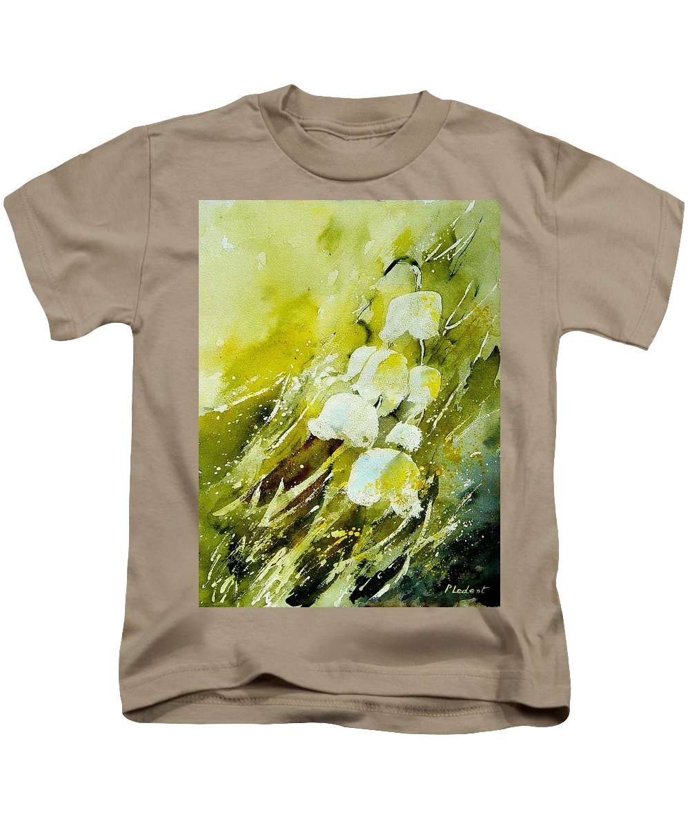 Flowers Kids T-Shirt featuring the painting Lilly Of The Valley by Pol Ledent