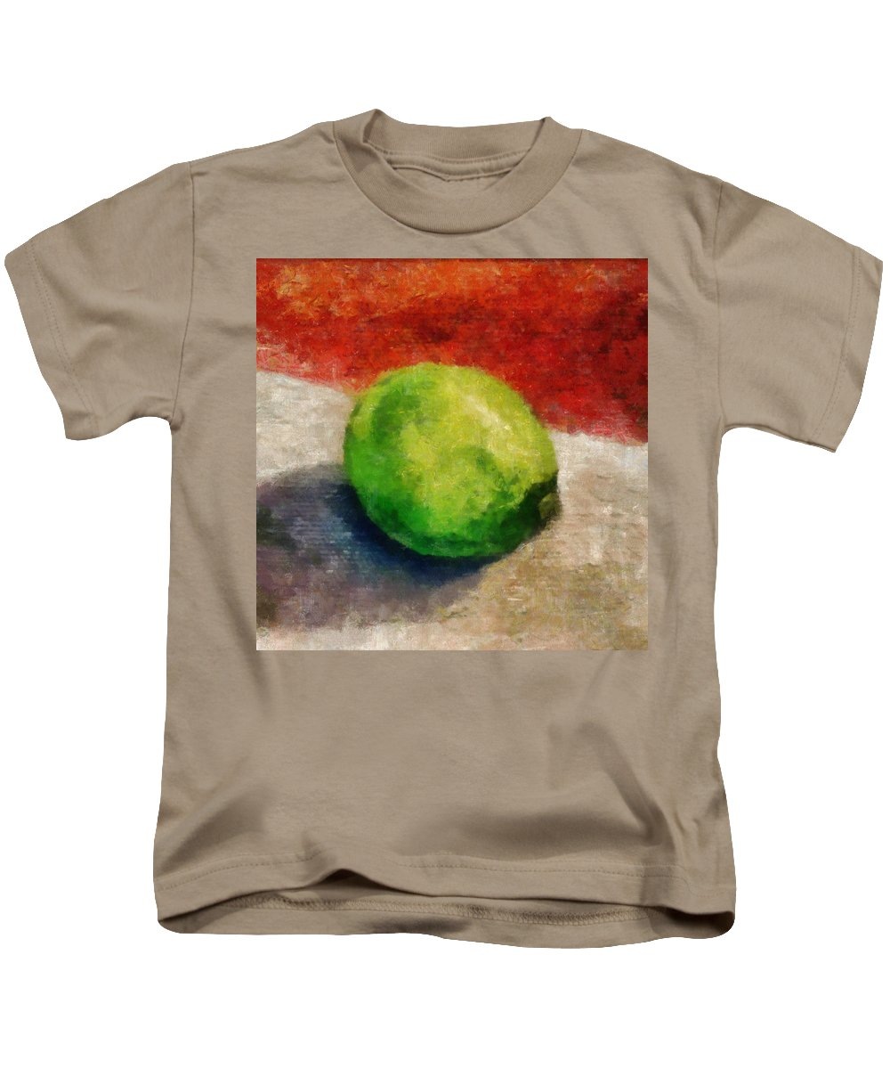Lime Kids T-Shirt featuring the painting Lime Still Life by Michelle Calkins