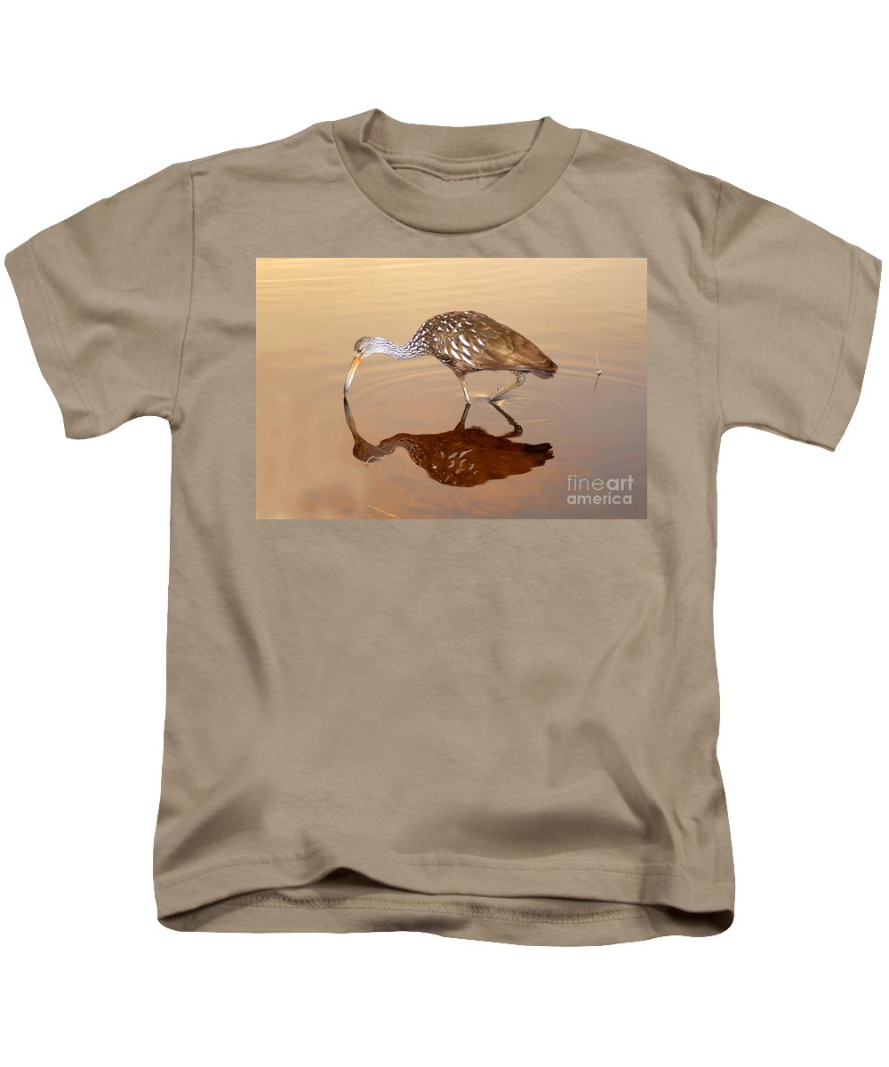 Limpkin Kids T-Shirt featuring the photograph Limpkin In The Mirror by David Lee Thompson