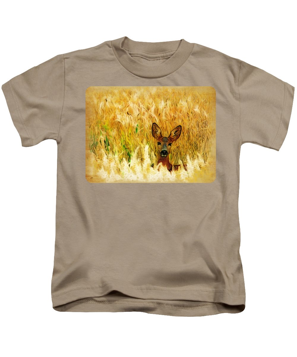 Deer Kids T-Shirt featuring the digital art Listening by Linda Koelbel