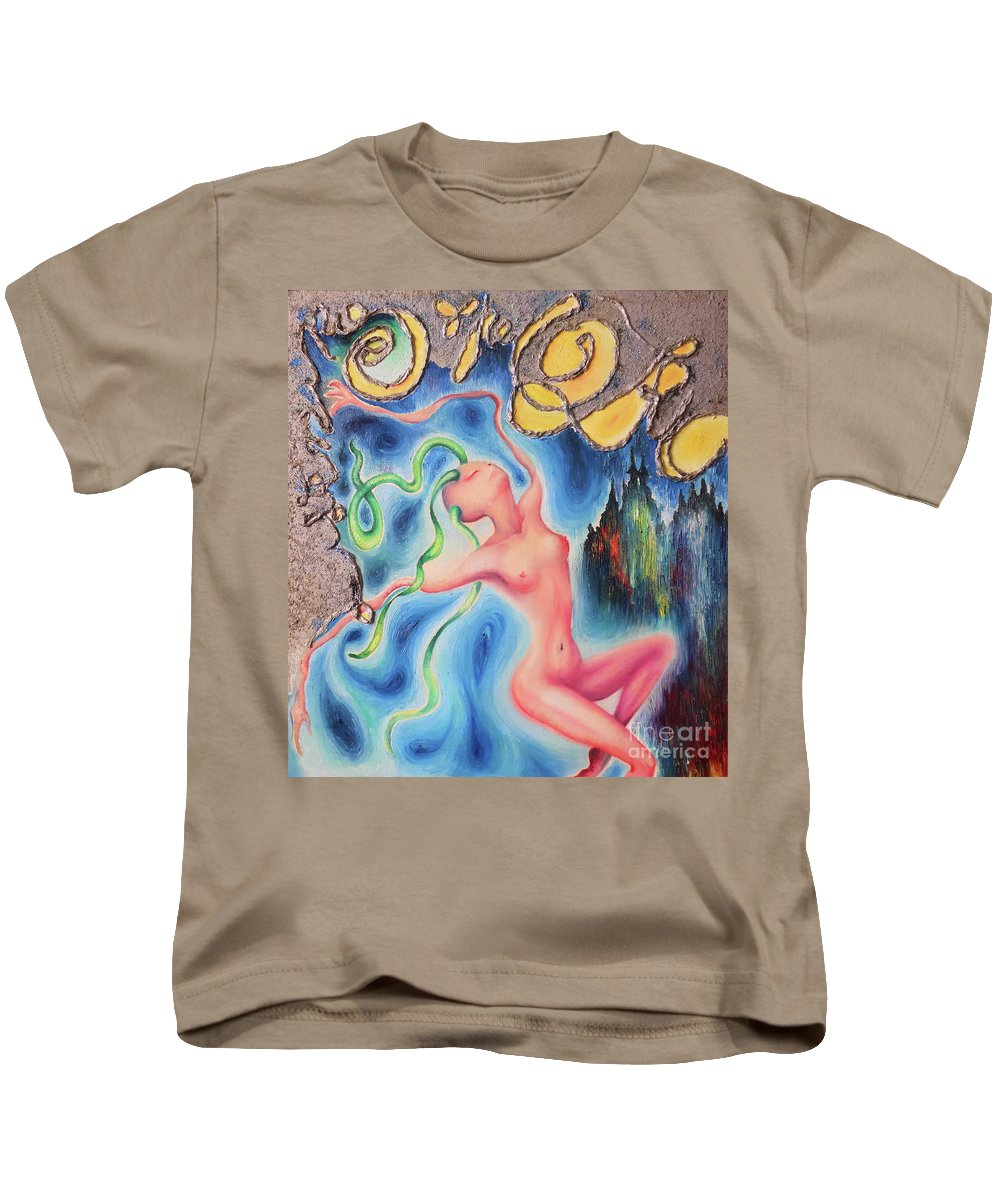 Woman Kids T-Shirt featuring the painting Listening The Oz by Salena Angel