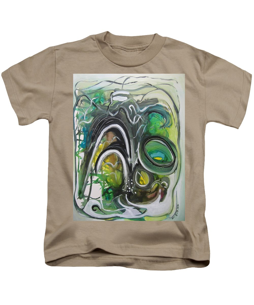 Abstract Paintings Kids T-Shirt featuring the painting little impression on Alexander trail by Seon-Jeong Kim