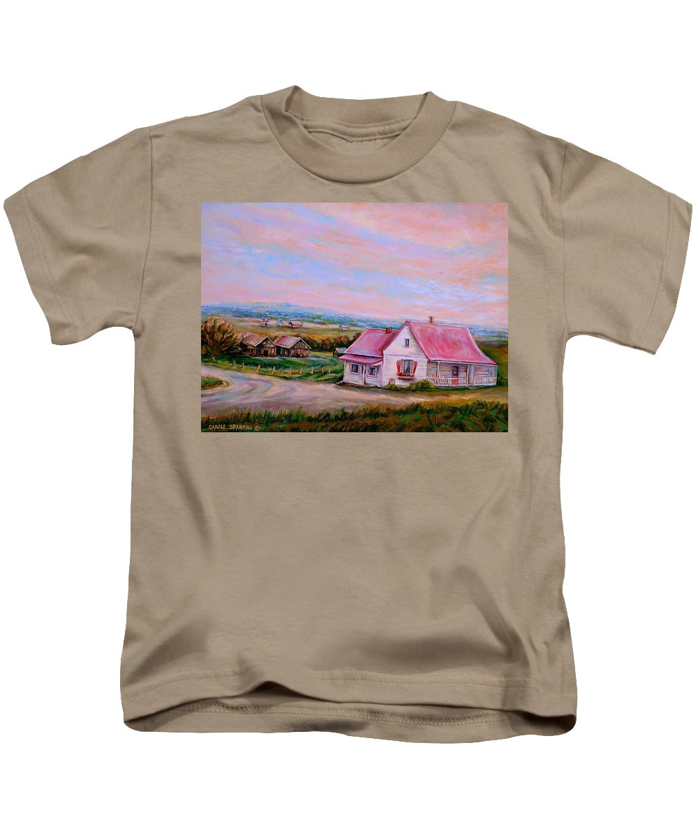 Little Pink Houses Kids T-Shirt featuring the painting Little Pink Houses by Carole Spandau