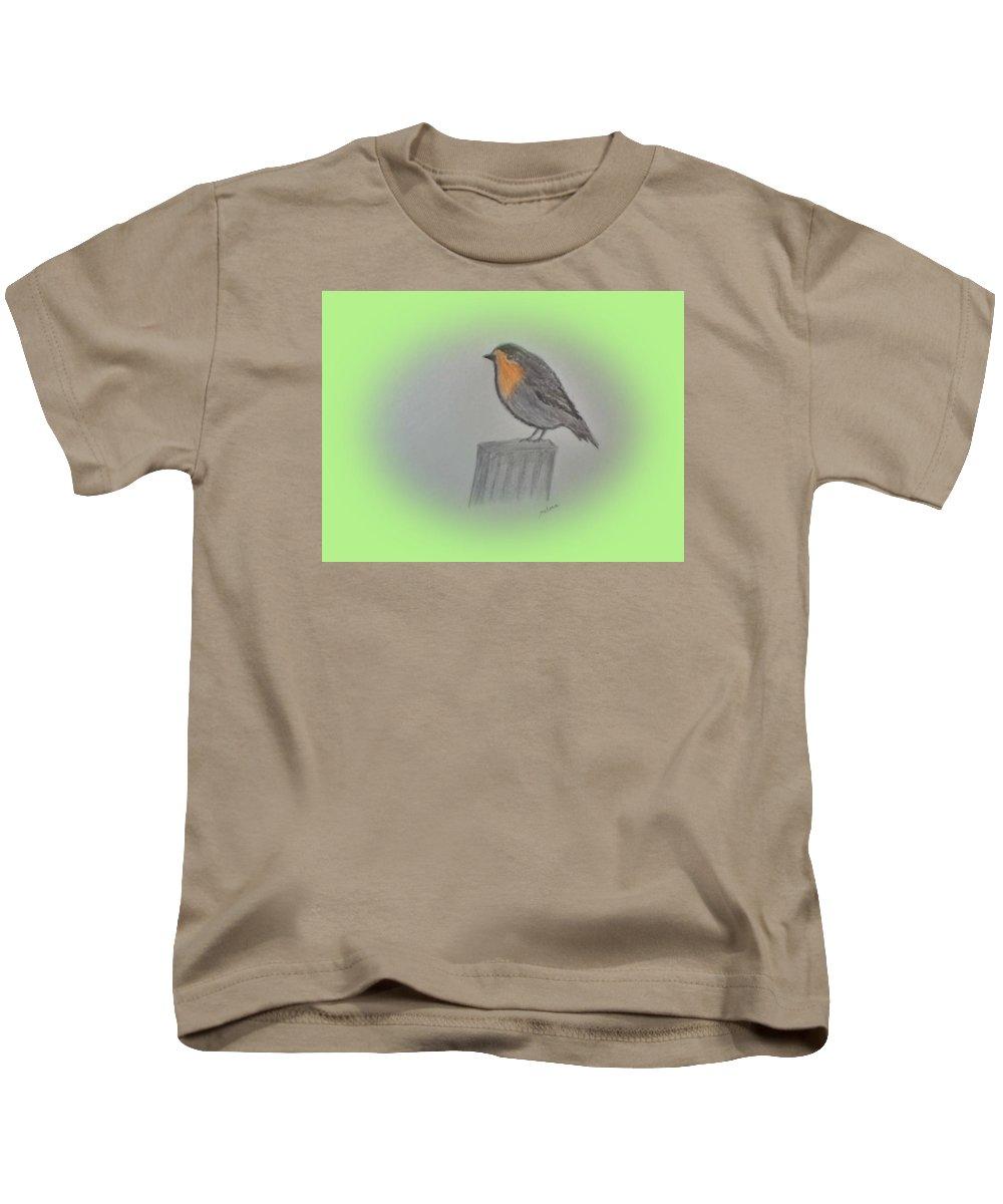 Little Robin Kids T-Shirt featuring the drawing Little Robin by Nelma Grace Higgins