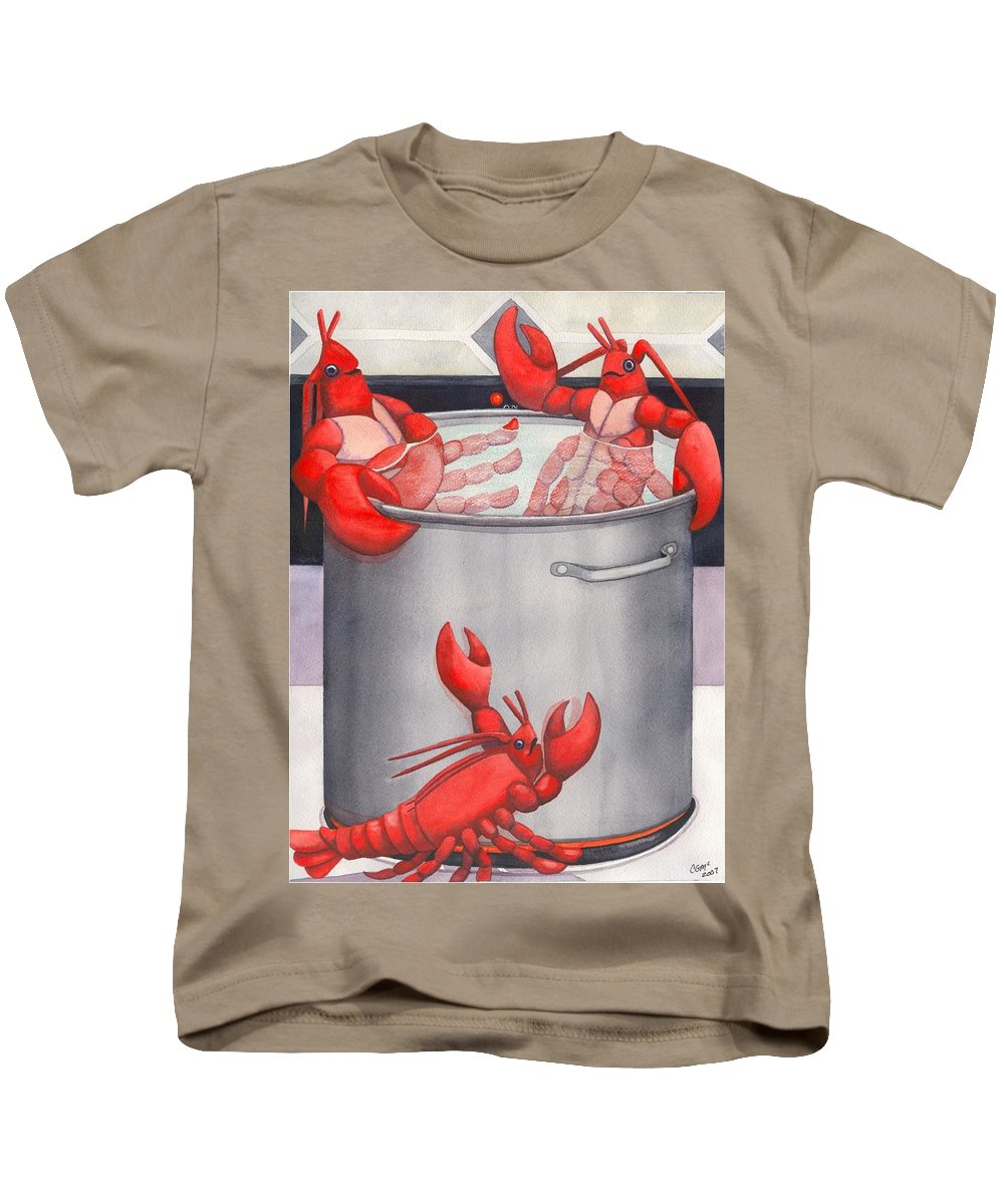 Lobsters Kids T-Shirt featuring the painting Lobster Spa by Catherine G McElroy