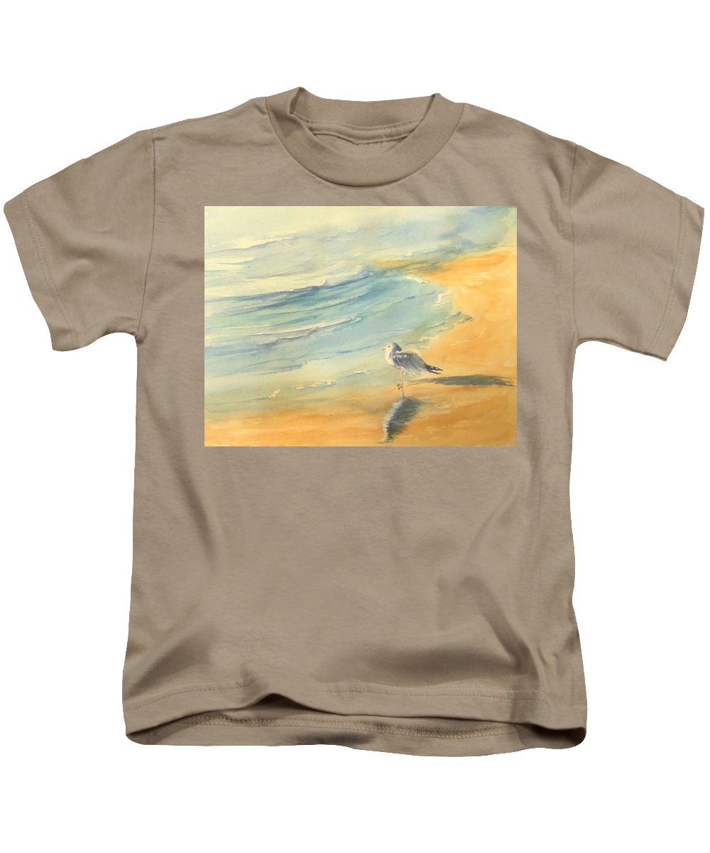 Watercolor Kids T-Shirt featuring the painting Long Beach Bird by Debbie Lewis
