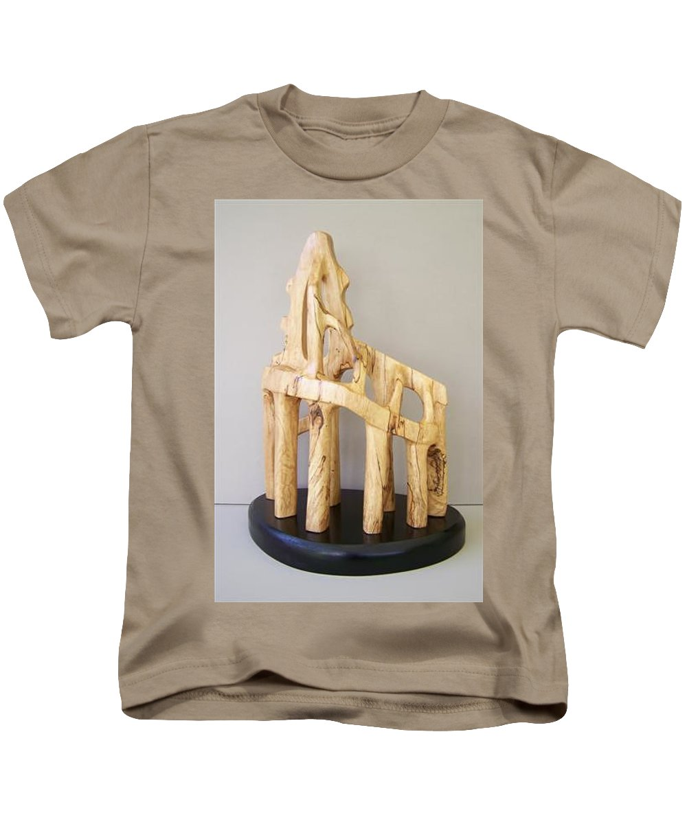 Wood-carving-sculpture-abstract- Kids T-Shirt featuring the sculpture Lost Glory by Norbert Bauwens