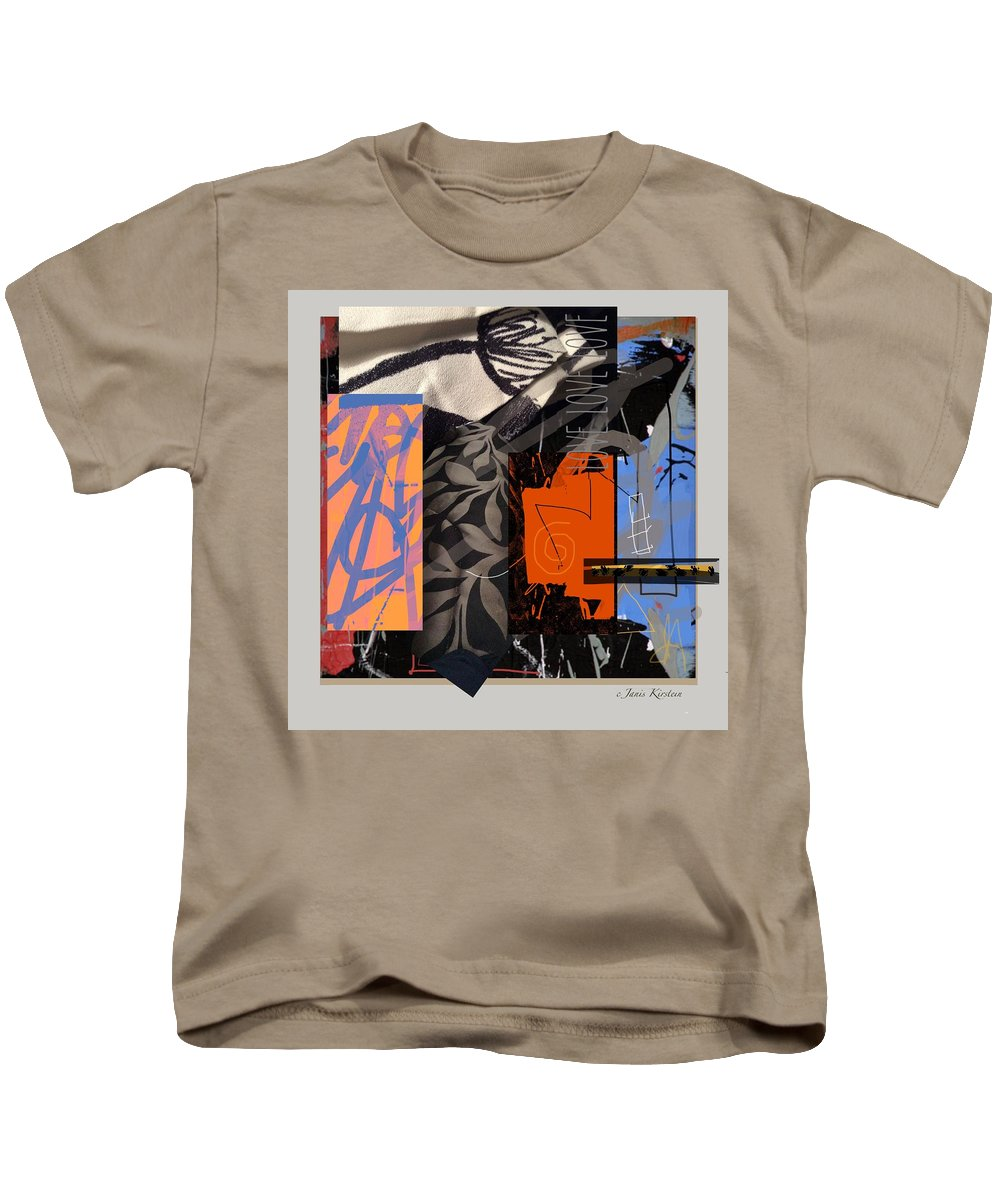 Collage Kids T-Shirt featuring the mixed media Love Love Love 1 by Janis Kirstein