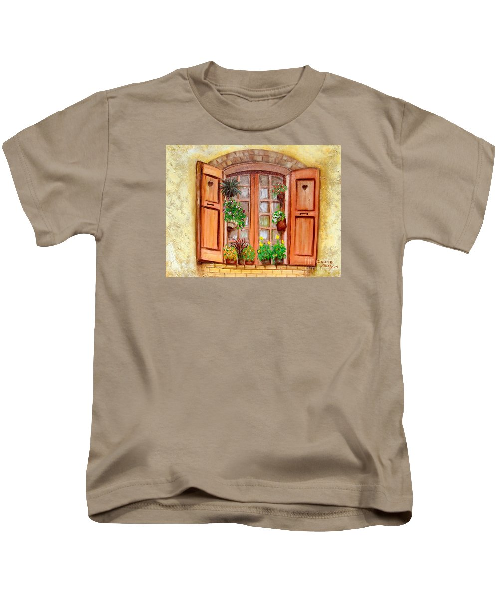 Windows Kids T-Shirt featuring the painting Love Nest by Laurie Morgan