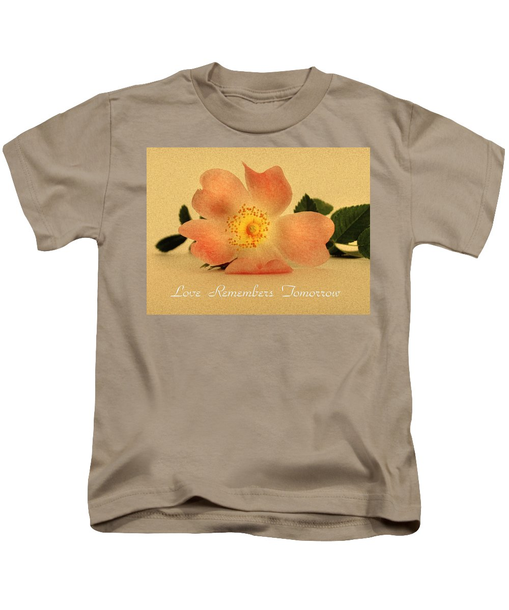 Flower Kids T-Shirt featuring the mixed media Love Remembers Tomorrow by Georgiana Romanovna