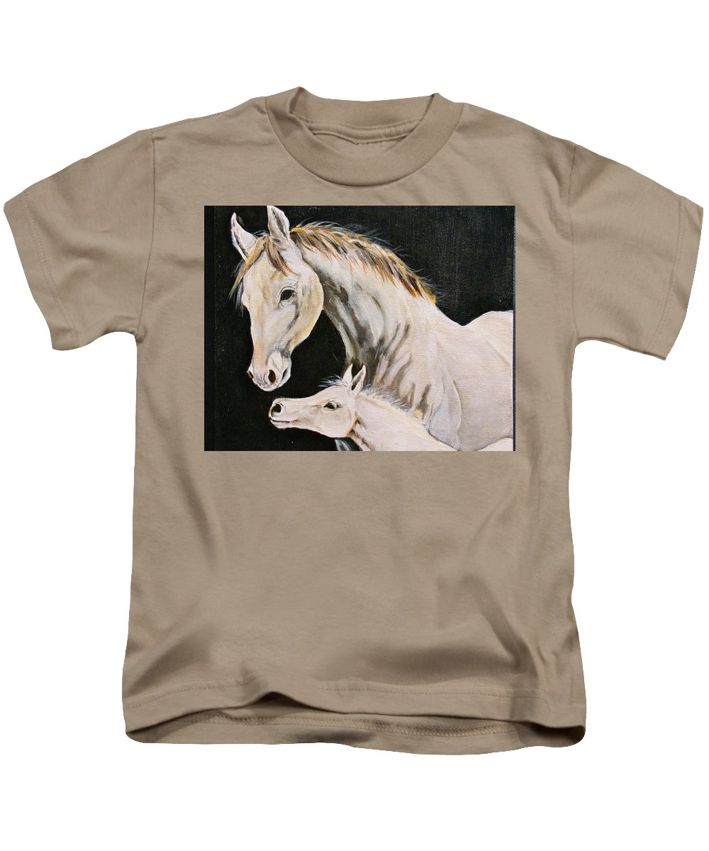 Horses Kids T-Shirt featuring the painting Love Story Part 3 by Donna Steward