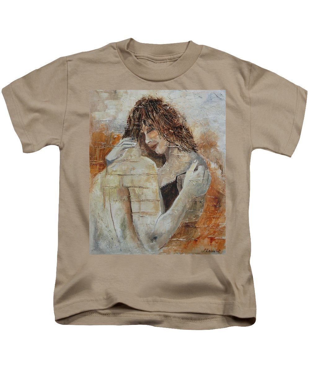Girl Kids T-Shirt featuring the painting Loving Couple by Pol Ledent