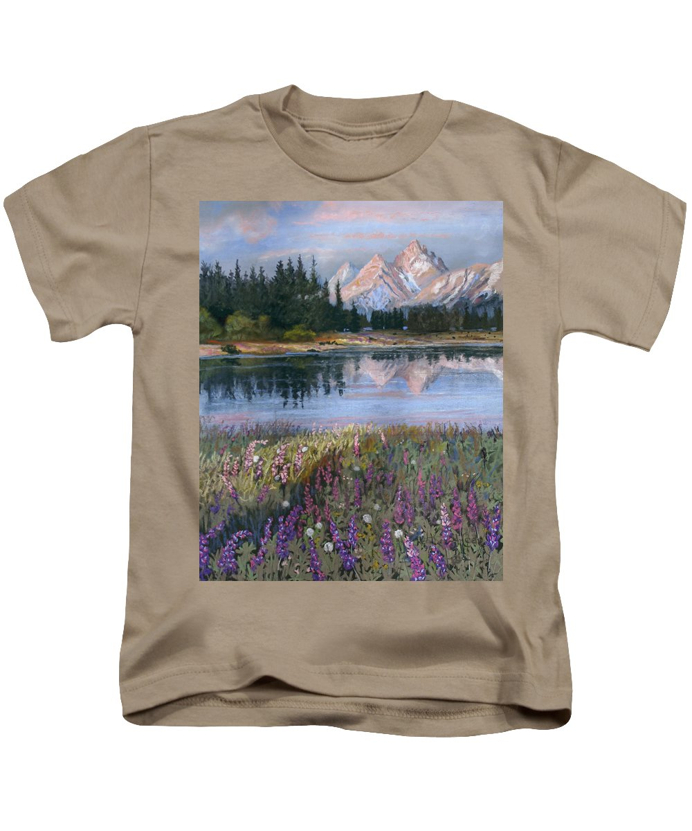 Grand Tetons Kids T-Shirt featuring the painting Lupines At Pilgrim Creek by Heather Coen