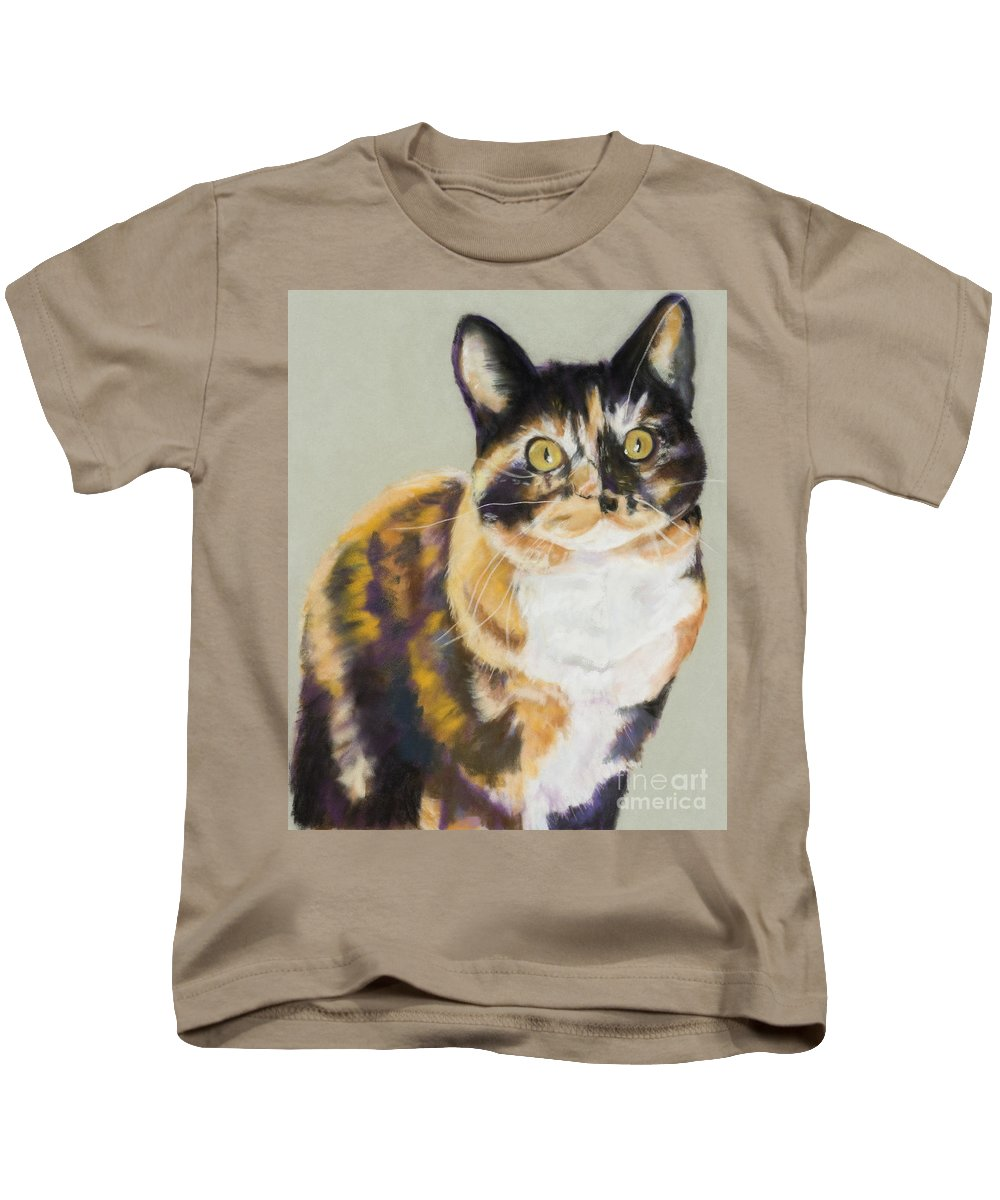 Calico Kids T-Shirt featuring the painting Maggie Mae by Pat Saunders-White