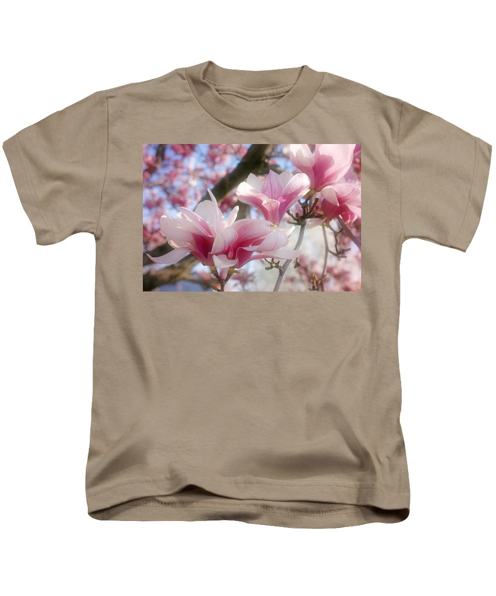 Magnolia Blossoms Kids T-Shirt featuring the photograph Magnolia Blossoms by Sandy Keeton