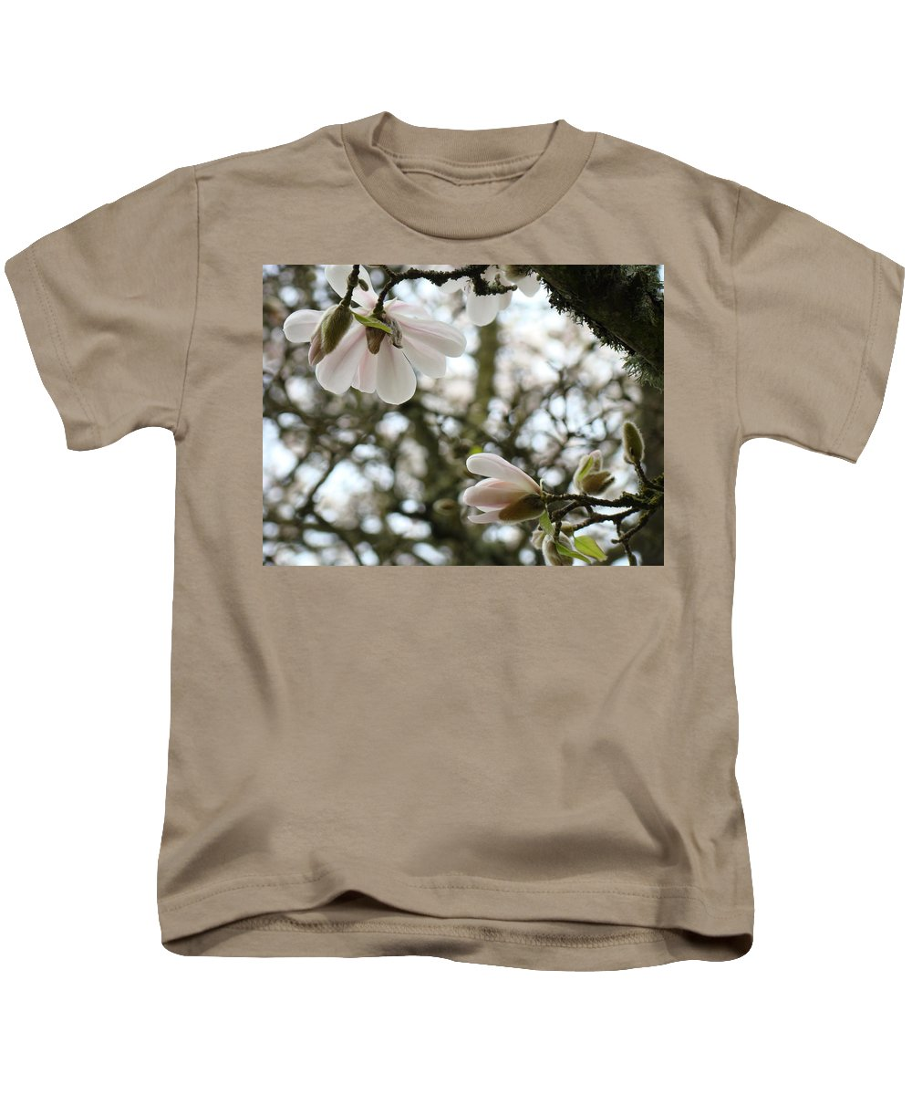 Magnolia Kids T-Shirt featuring the photograph Magnolia Tree Flowers Pink White Magnolia Flowers Spring Artwork by Baslee Troutman