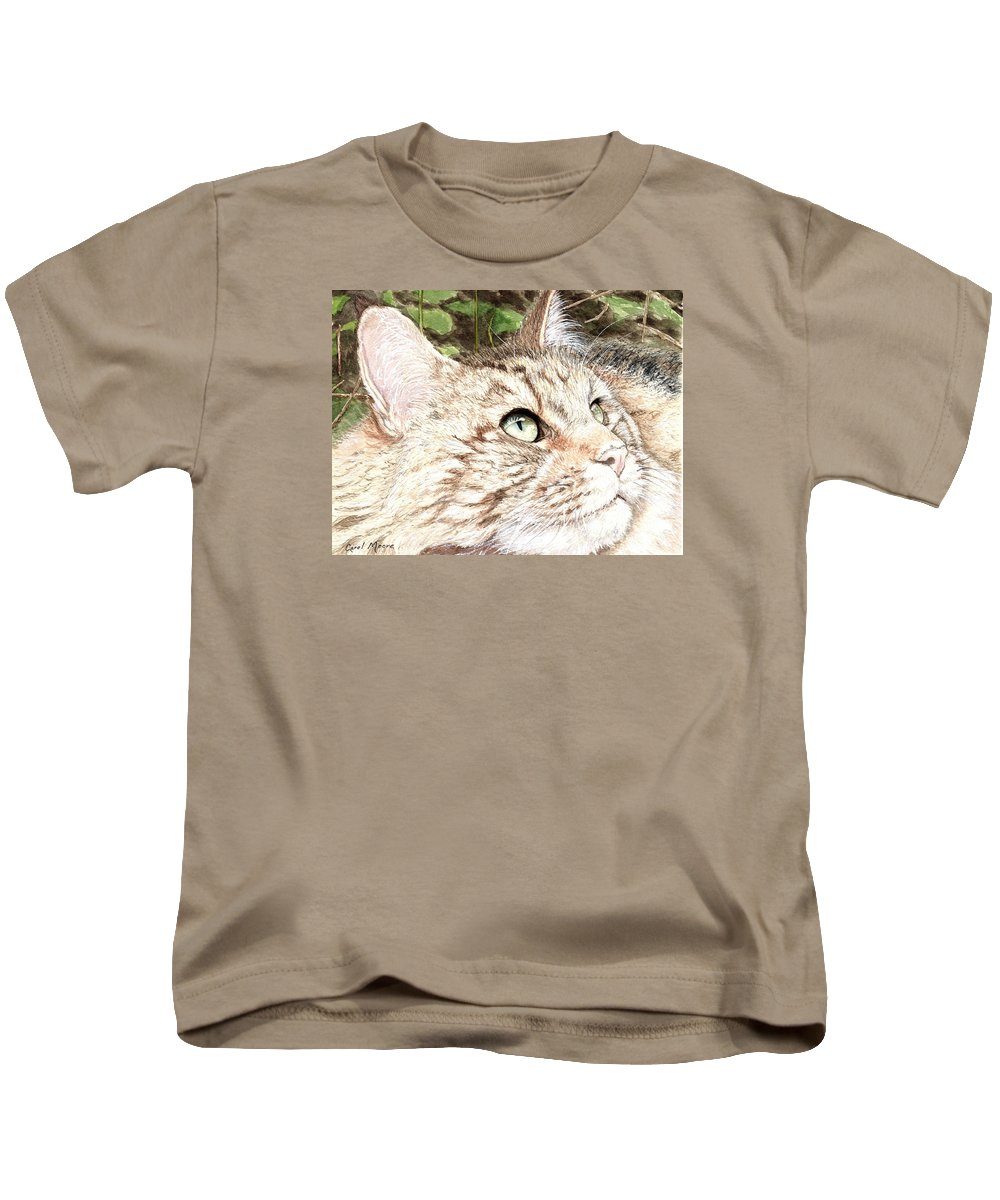 Maine Kids T-Shirt featuring the painting Maine Coon Cat by Carol Moore