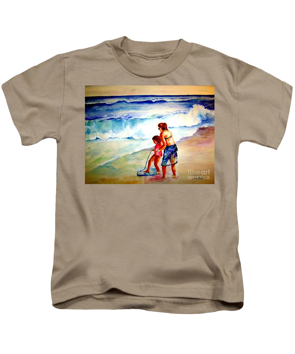 Beach Surf Kids T-Shirt featuring the painting Making A Memory by Sandy Ryan